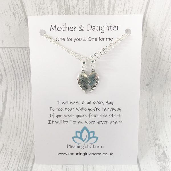 Mother & Daughter Necklace Set, Long Distance, Poem Gifts, Mothers Day Gifts
