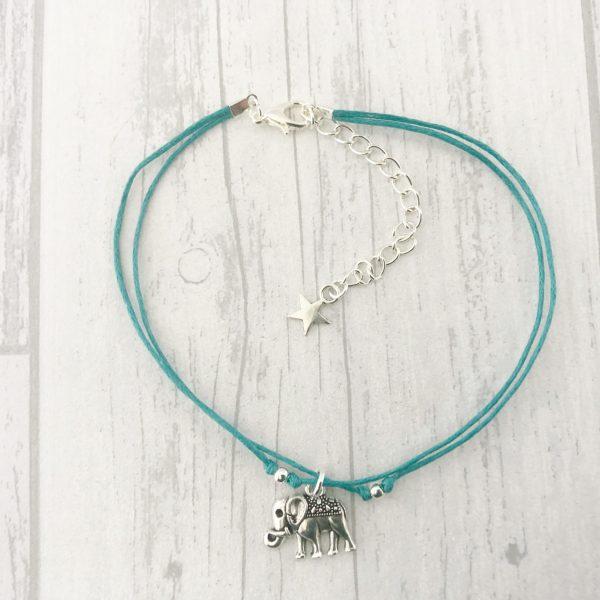 Elephant Anklet, Ankle Bracelet, Boho, Cord
