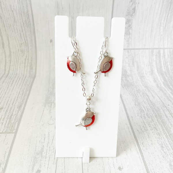 Robin necklace and earring set, Robin Jewellery Set, Hand Painted, Christmas Jewellery, Robin Gifts