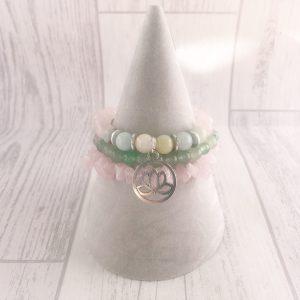 Amazonite & Rose Quart Bracelet Set, Lotus Flower Bracelet, Heart Chakra, Calming Bracelet, Stacking Bracelets