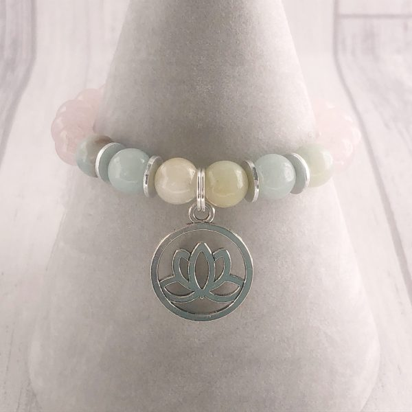 Amazonite & Rose Quart Bracelet, Lotus Flower Bracelet, Heart Chakra, Calming Bracelet
