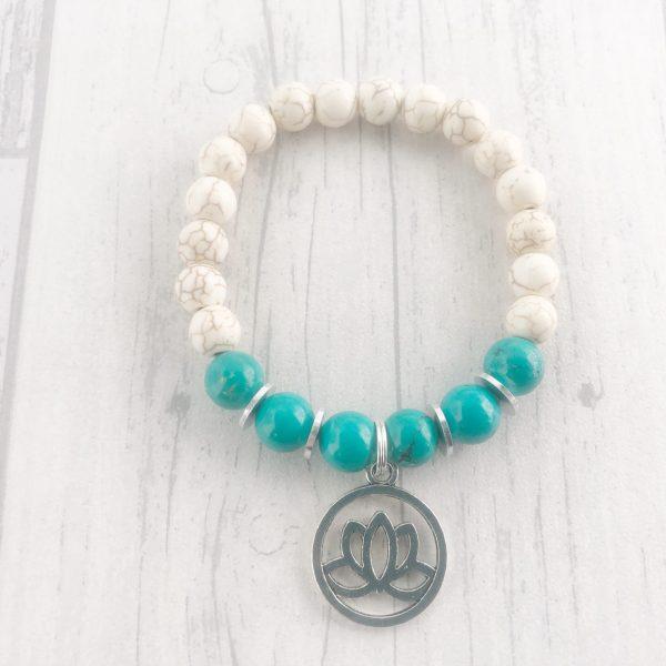 Stabilised Turquoise & White Howlite Bracelet, Lotus Flower Bracelet, Crystal Healing, Mala Bracelet, Creativity & Inspiration