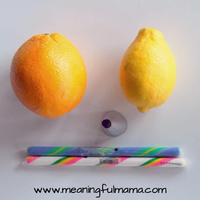 lemon and orange candy stick treat