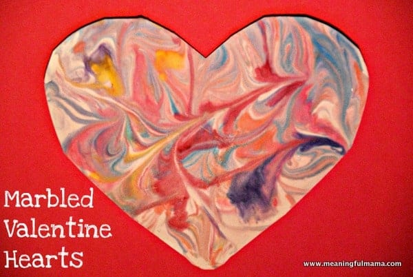 marbled valentine heart with shaving cream valentine craft ideas for preschoolers