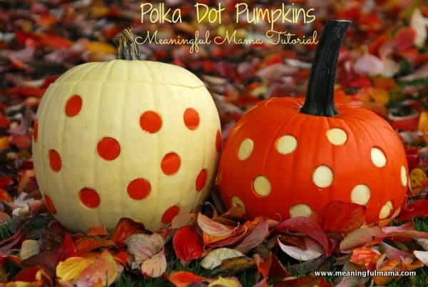 Two-Toned Polka Dot Pumpkins - Use an apple corer to get make the holes in one and use those holes to plug up the other one. Meaningful Mama