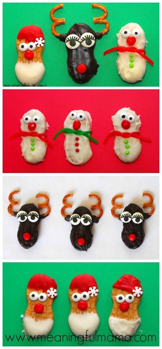 Nutter Butter Christmas Snacks - Santa, Rudolf, Snowman