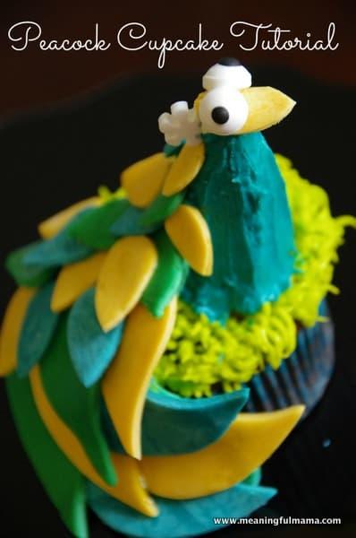 Peacock Cupcake Tutorial - Meaningful Mama