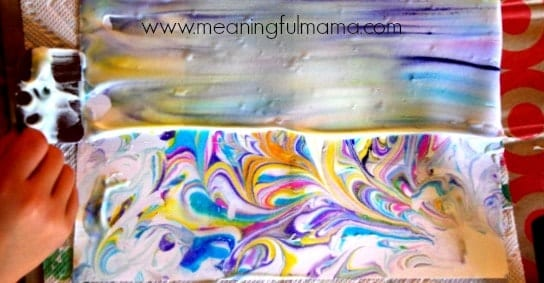 how to make marbled paper shaving cream