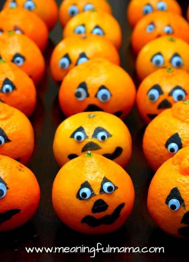 harvest party treats healthy satsuma pumpkins