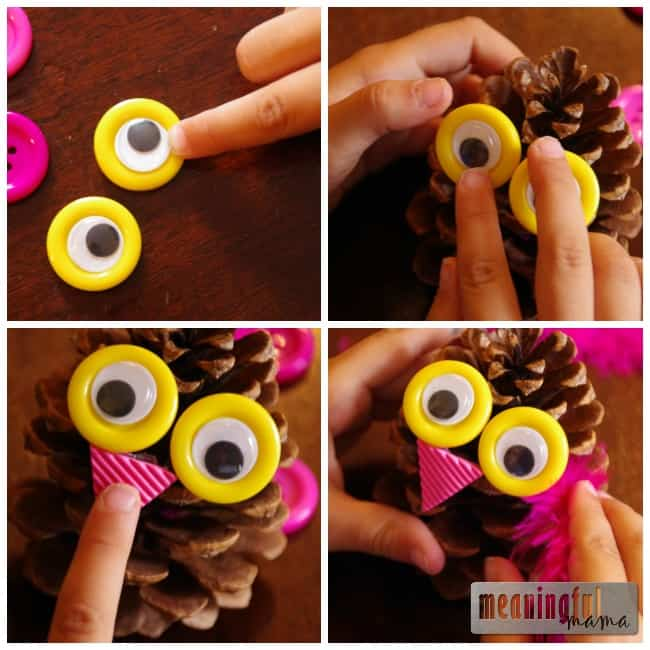 owl pinecone craft for kids