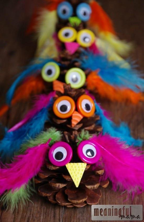 owl pinecone craft kids