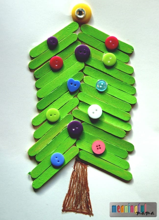 popsicle stick Christmas tree craft kids