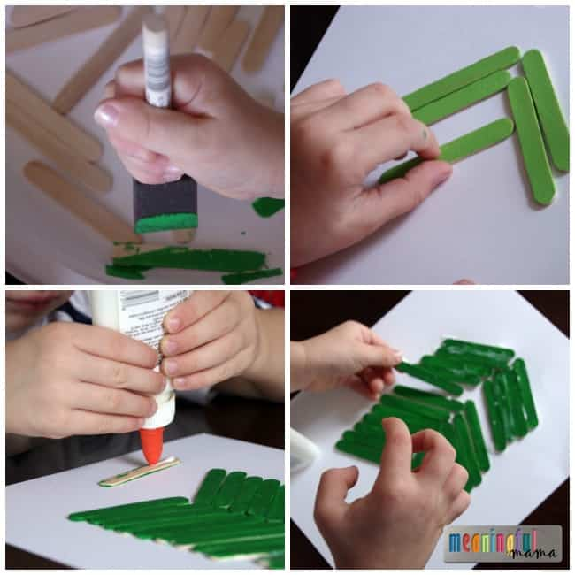 popsicle stick Christmas tree craft tutorial