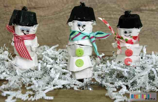 snowman craft egg carton kids winter