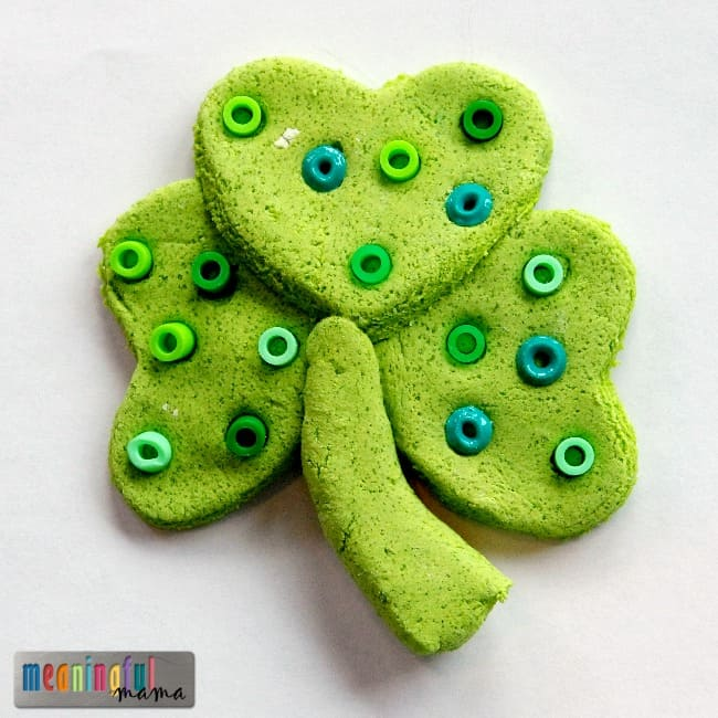 St. Patrick's Day Four Leaf Clover Craft for Kids Using Salt Dough