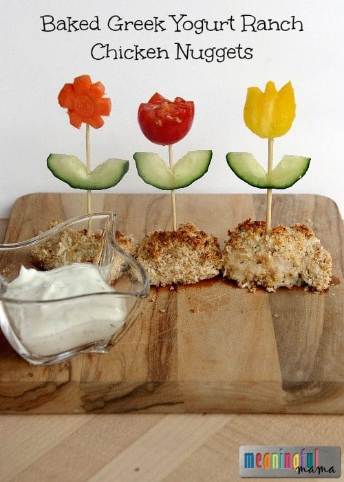 Baked Greek Yogurt Ranch Chicken Nuggets Recipe with Flower Vegetables