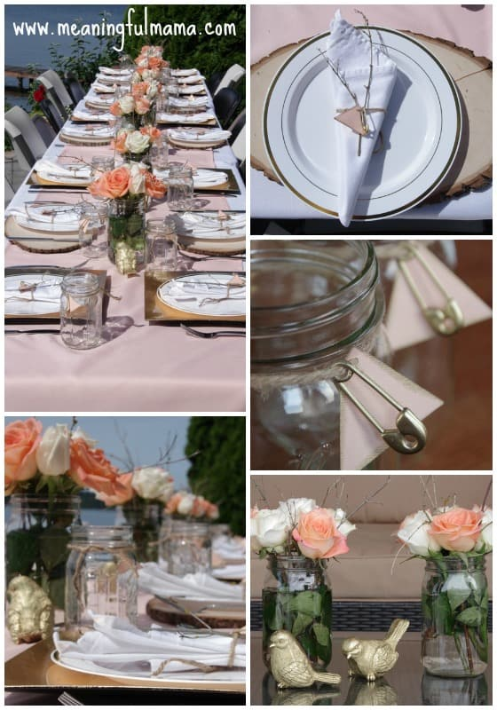 Peach and Gold Baby Shower Table