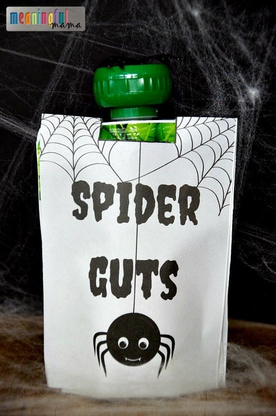 Spider Guts Squeezable Applesauce Pouches - Spider Themed Food Ideas for Halloween and Harvest