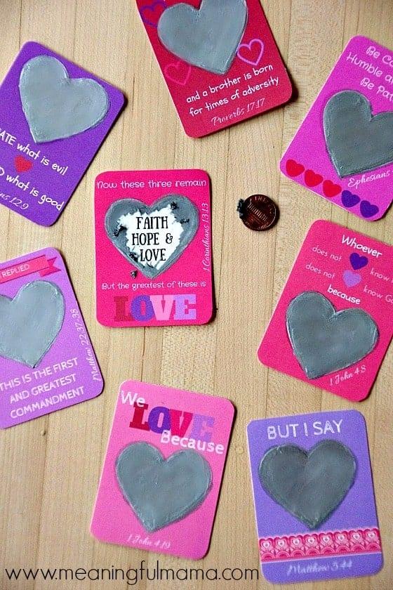 Valentine's Day Bible Verse Scratch-Off Hearts - Scripture-Based Christian Valentine Ideas