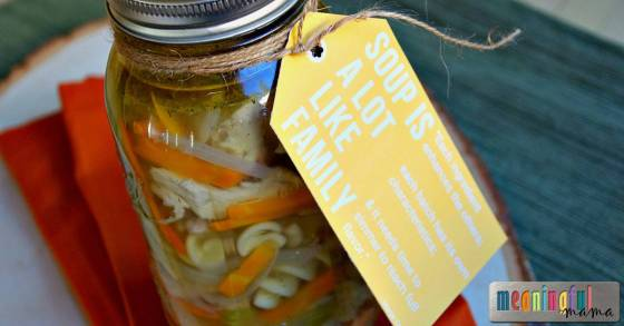 Chicken Noodle Soup in Mason Jars with Free Printable