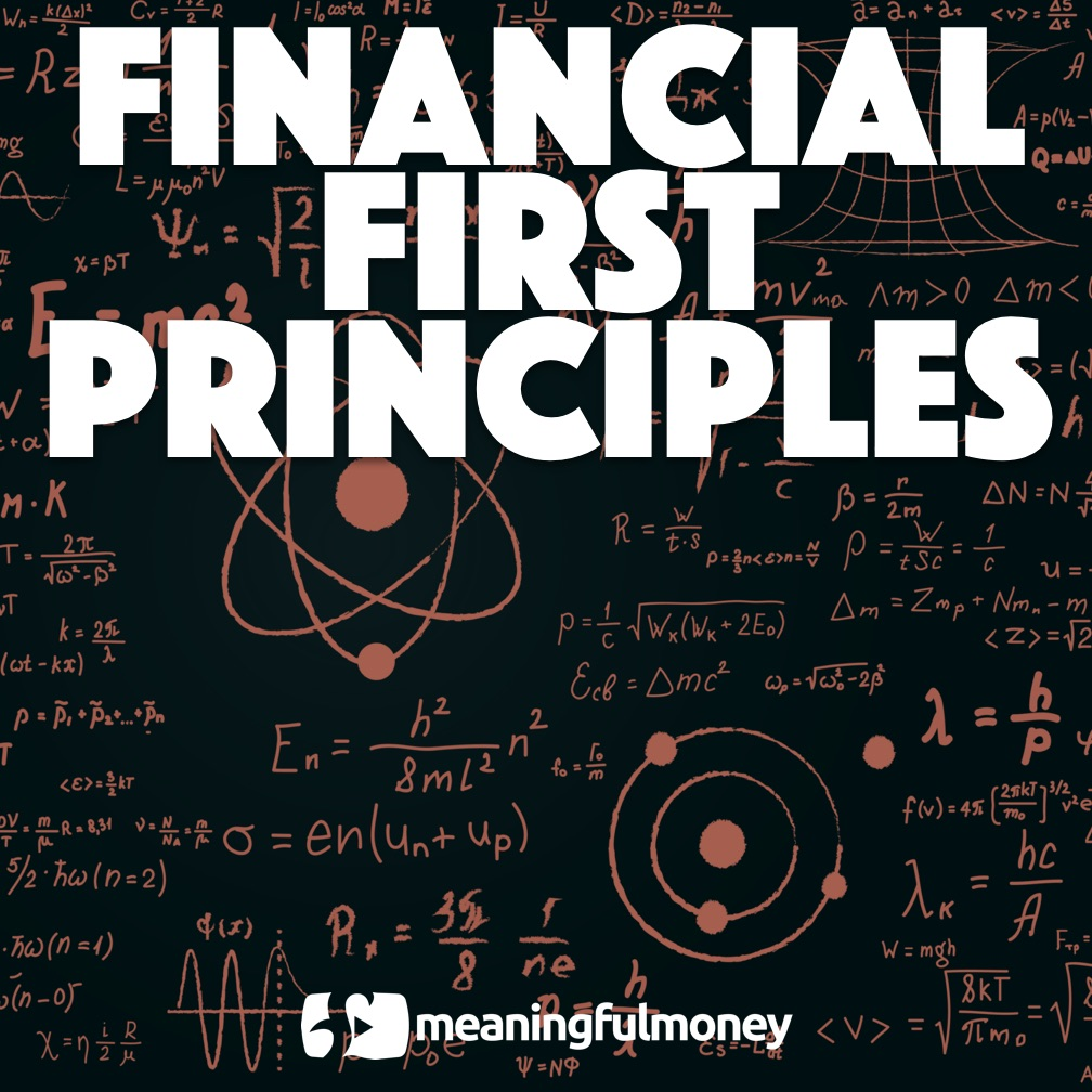 Financial first principles displayed on a blue background with pink numbers
