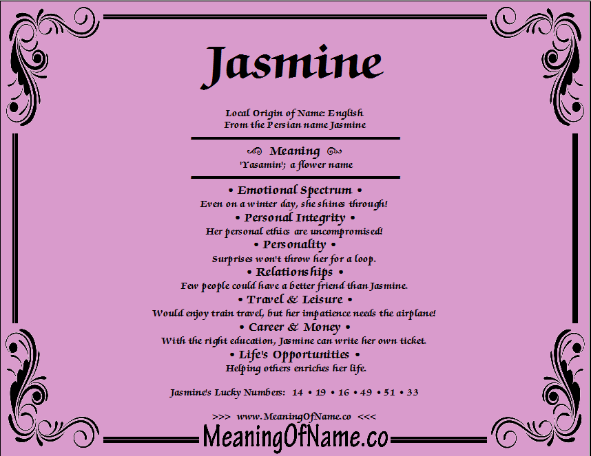 Jasmine - Meaning of Name