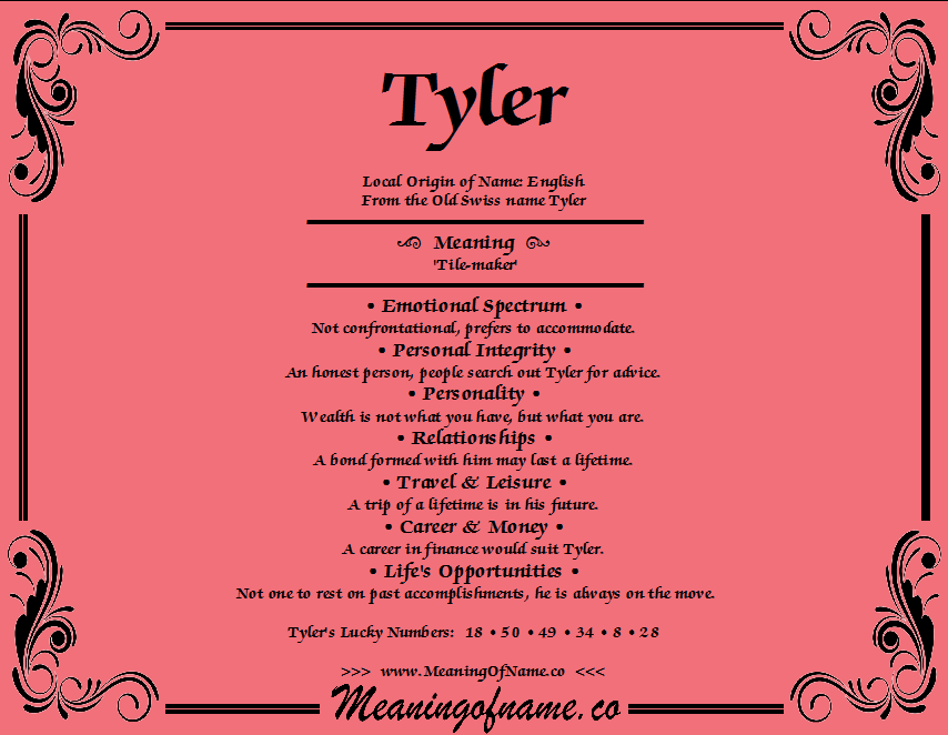 Tyler - Meaning of Name