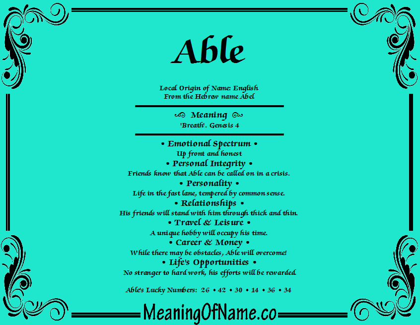 Able - Meaning of Name