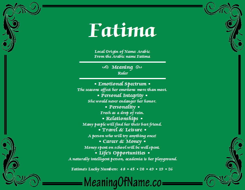 Fatima - Meaning of Name