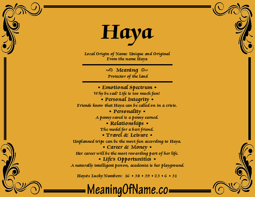 Haya - Meaning of Name