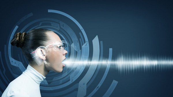Woman with voice sound waves