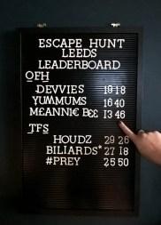 Escape Hunt Leeds leader board. Our Finest Hour