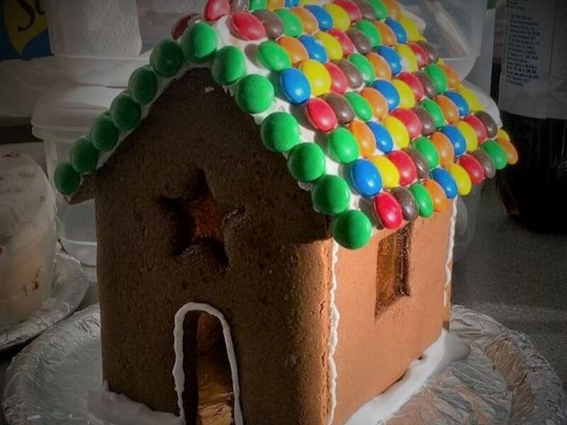 Gingerbread House Recipe - Gingerbread house with Smarties roof