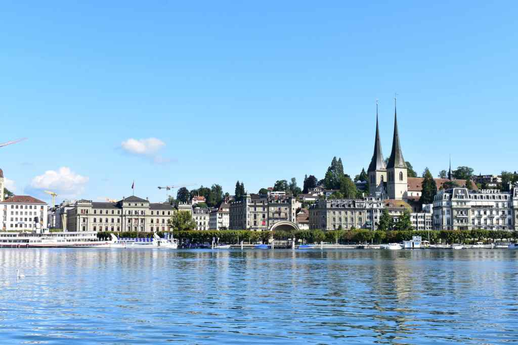 Historical buildings along the Lake Lucerne waterfront