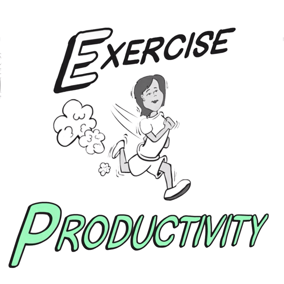 whiteboard image of girl running with text exercise and productivity