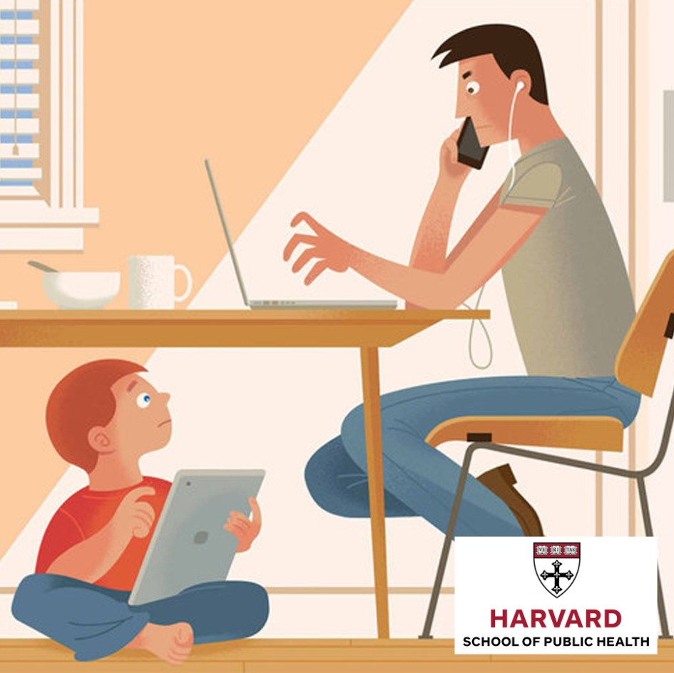 cartoon image of man and child on screens