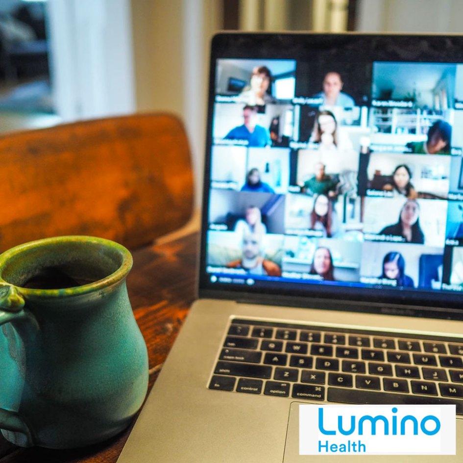 virtual chat with coffee mug