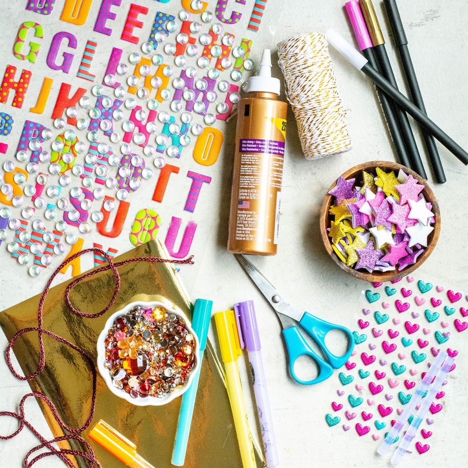 Gratitude jar supplies - stickers, glitter, glue, string, letters