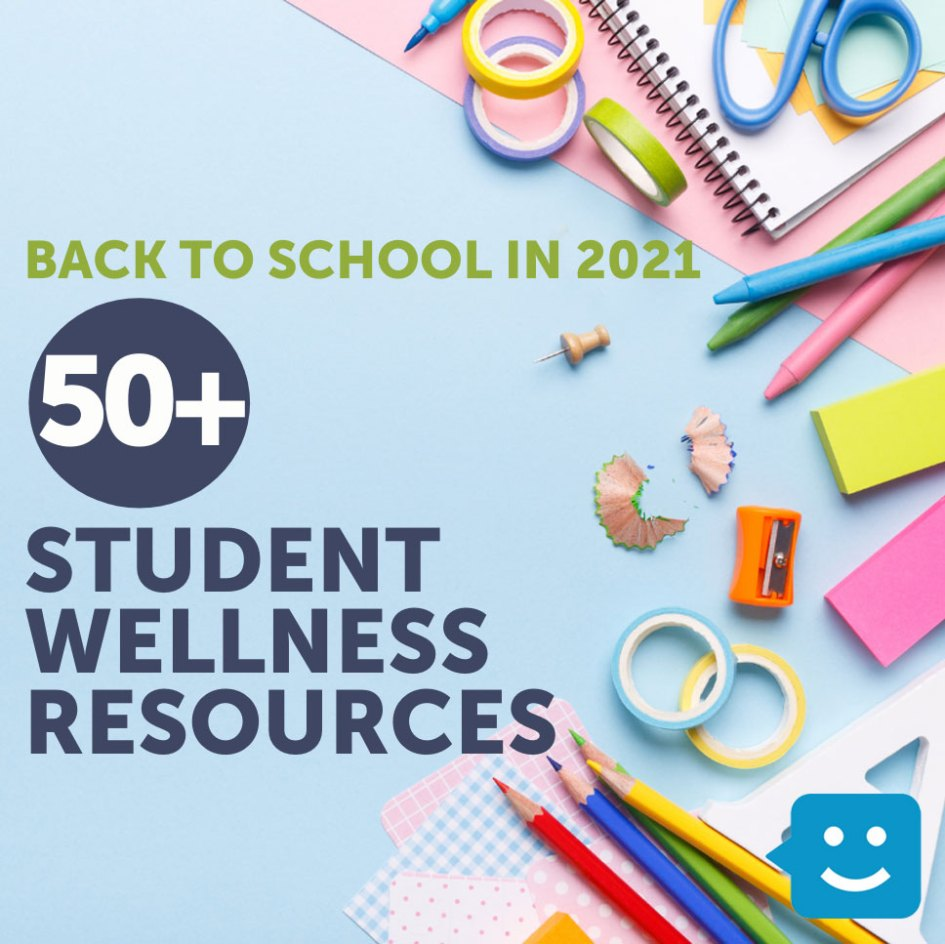 school supplies on blue background with text 50+ student wellness resources