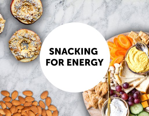 marble background with snacks scattered