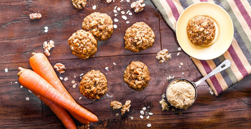 cookies on a table with carrots and oats