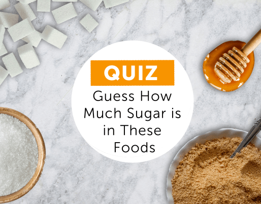 sugar cubes, a bowl of brown sugar, and a honey spoon all scattered on a marble background with a white circle in the center reading Quiz Guess how much sugar is in these foods