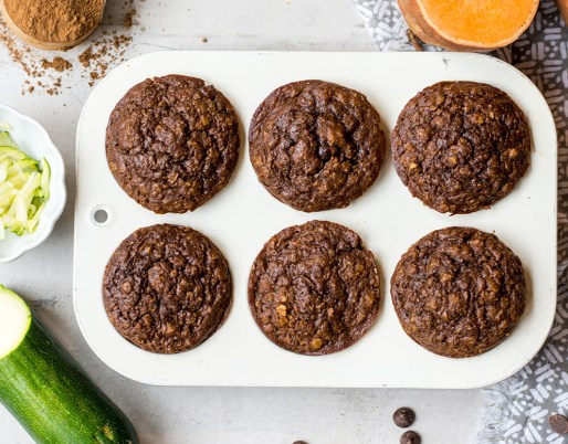 chocolate sweet potato muffins in baking tray