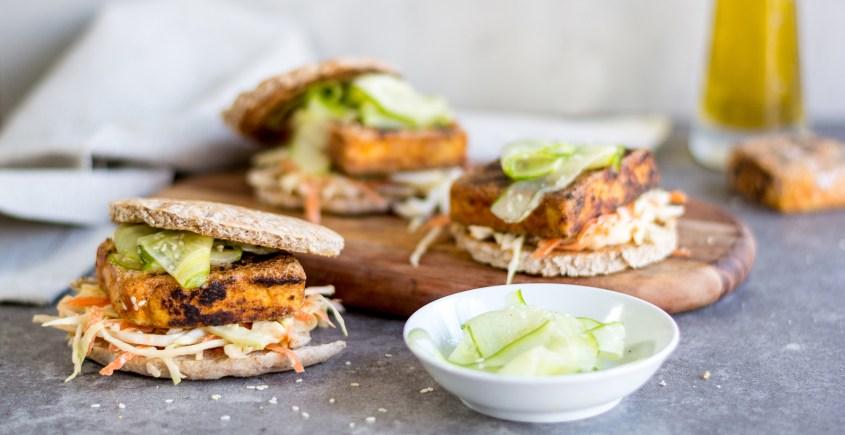 tofu burgers on plate