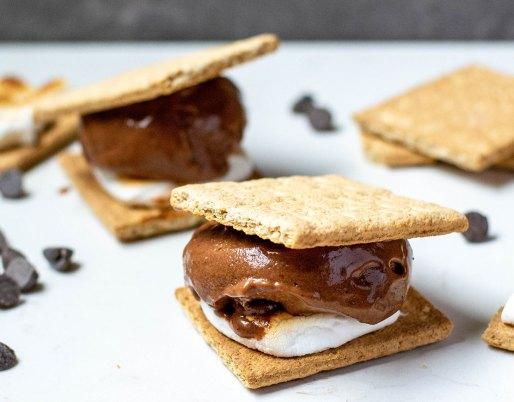 smores ice cream sandwich on plate