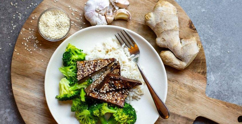 baked tofu on rice with broccoli