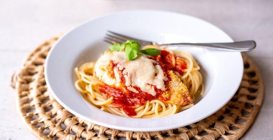 chicken parmesan on pasta