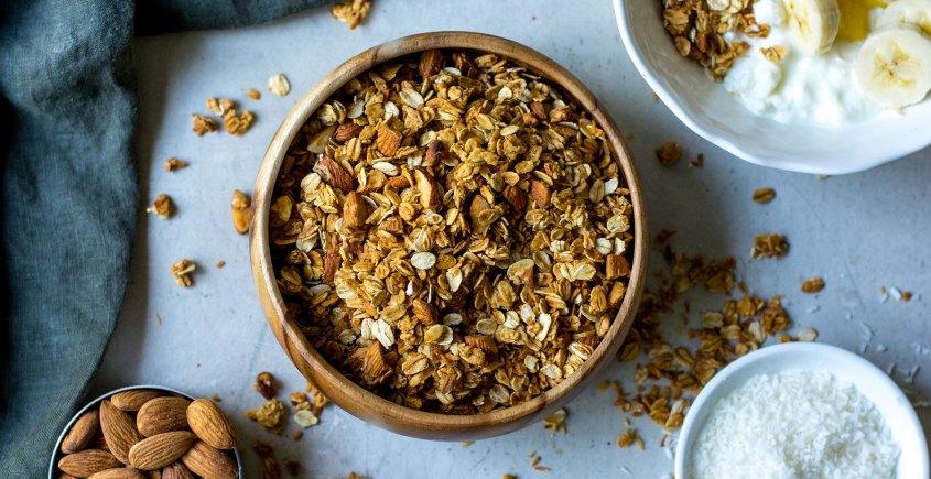 tropical granola in bowl with yogurt