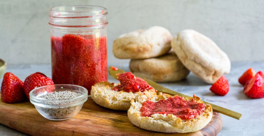 strawberry chia jam on english muffins side view