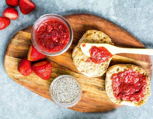 strawberry chia seed jam on english muffins